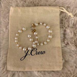 Jcrew pearl hoop earrings